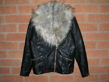 RIVER ISLAND Girls Black Faux Leather Fur Collar Biker Jacket Coat Age 9 134cm