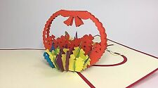 Flower Basket Pop Up Card. 3D Mother's Day Card/Birthday/Thank You/Get Well Card