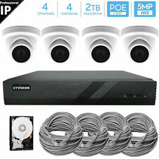 Ctvision 4Ch 5Mp PoE Video Surveillance (4)x5Mp Ip Camera Security System 2Tb