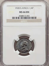 1928 South Africa George V 1/4 Penny 1928  NGC MS66 Brown *ONLY 3 GRADED HIGHER*