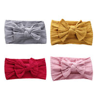 Baby Girl Bowknot Headband Elastic Nylon Jacquard Turban Hairband Bows Head Wrap