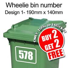 Wheelie Bin Number Custom Number/ House Number Vinyl Sticker Decal
