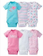NEW Gerber Newborn Baby Girl Onesie Love/Bird Bodysuit 6 Pack Size 0-3 month