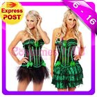 New Burlesque Green Satin Bustier Lace up corset skirt S M L XL 2XL Costume