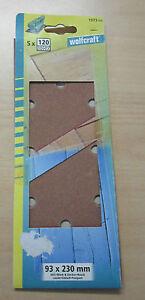 Schleifpapier für Schwingschleifer von WOLFCRAFT 5 Bla 93x230mm Körnung  120