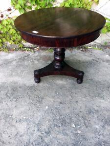 """Tavolino Rotondo Carlo X """"Gueridon"""" in Mogano - Restaurato (in corso d'opera)"""