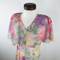 Vtg 80s etoile Pastel Floral Sheer Dress  |  Womens Missy 10