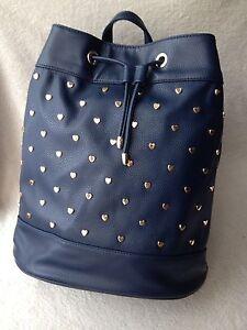 •Deux Lux Blue Gold Heart Ladies Girls Backpack Rucksack Handbag Medium.
