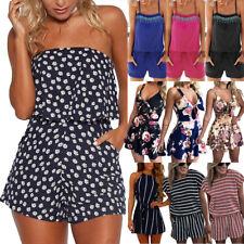 Boho Women Summer Holiday Jumpsuit Romper Lady Casual Beach Mini Playsuit Dress