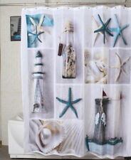 Sea Shell Starfish Pattern Bathroom Waterproof Fabric Shower Curtain + 12 Hooks