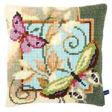 Deco Butterflies Large Holed Printed Tapestry Cushion Kit - Chunky Cross Stitch