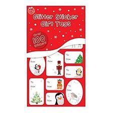 x 100 Navidad Rojo y verde con Purpurina o aluminio PLATA Y ORO PEGATINA (82257)