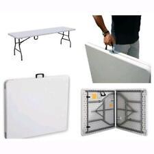 Tavolo da giardino Richiudibile Pieghevole in metallo e PVC bianco 180X75X74H cm