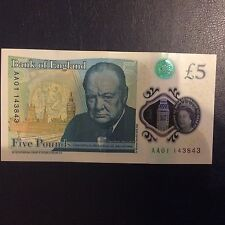 COINS 5 POUND BANK OF ENGLAND NEW POLYMER NOTE AA01...