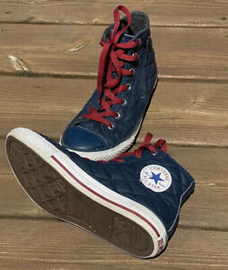 Woman's Size 4 Converse All Star Quilted Navy Blue Zipper Hightops