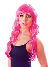 Ladies Long Wavy Neon Pink Wig & Fringe Nikki Minaj Geordie Shore Fancy Dress