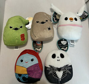 """Disney's The Nightmare Before Christmas 5"""" Squishmallows Lot- Complete Set Of 5"""
