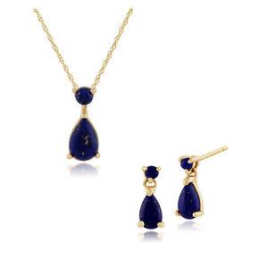 Gemondo 9ct Yellow Gold Lapis Lazuli Two Stone Drop Earrings & 45cm Necklace Set