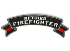 "(D8) RETIRED FIREFIGHTER 4"" x 1.5"" iron on Rocker patch (5487) Red Line"