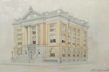 Late 19th c. Drawing of Neoclassical Building by Architect D. D. Cassidy Jr.