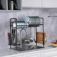 Over Sink Dish Drying Rack Drainer Stainless Steel Cutlery Kitchen Shelf Holder