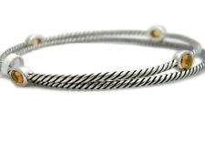 David Yurman Silver Confetti 4 Station Bangle 2 Bracelet Set Citrine Size M NWT