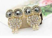 New Luxury Cute Lady Shiny Crystal Rhinestone Lovely Owl Earrings