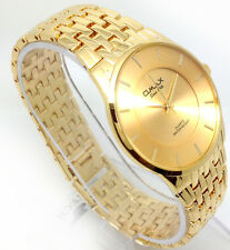 078R Men's Business Slim Casual Wrist Watch Gold Band Stylish Analog Dial Quartz