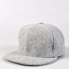 Black gray wool Snapback Baseball Hat Cap Plain Blank Flat Cap-Carton packaging
