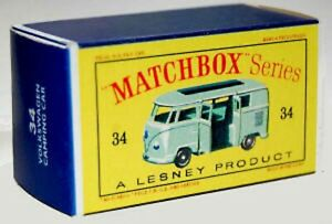 Matchbox Lesney No 34  Volkswagen Camper Green empty Repro D style Box