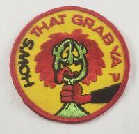 "Vintage How's That Grab Ya? 1960/70's 3"" Hat Jacket Patch Biker Rat Rod Humor"