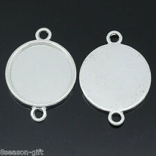 100PCs Cameo Setting Picture Frame Connectors Round Silver Plated 3.2cmx2.4cm