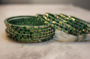 12 Green Indian Ethnic Glass Bangles Set