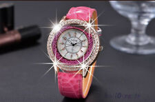 Fashion Ladies Leather Crystal Rhinestone Diamond Watches Quartz Wristwatch NEW