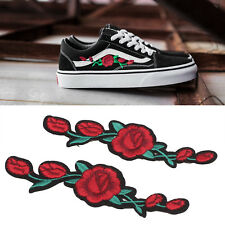 2 X Red Rose Flower Embroidery Applique Patch For Shoes Iron On Stick