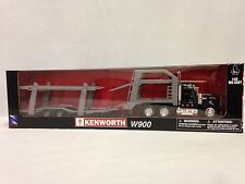 Kenworth W900 With Twin Auto Carrier, 1:43 Scale Diecast, New Ray Toys, Black