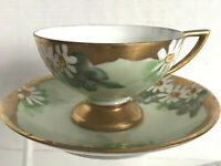 Antique Pedestal Footed Hand Painted Daisies Flowers Gold Tea Cup & Saucer Set