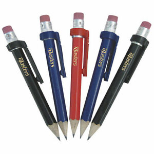 Masters Golf - 5x Deluxe Wood Pencils with Eraser and Clip