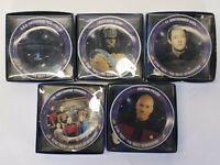 Lot Of 5 1992 Hamilton Star Trek Next Generation Porcelain Mini Plate Easel Set