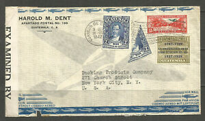 OSBURGH - GUATAMALA. 1942. WW2 CENSORED AIR MAIL COVER WITH BI-SECT. ADDRESSED T