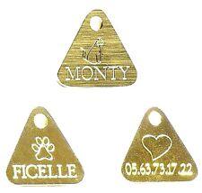 Lot de 3 Médailles triangles gravée pour Chat/Chien - petite tailles en laiton