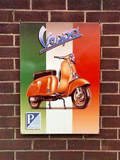 Vespa with Italian Flag - XL Tin Metal Wall Sign