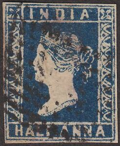 India 1854 QV ½a Indigo Die I Used SG5 cat £140 with 4 margins with Odd Chignon