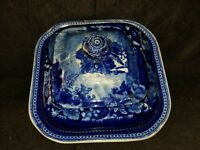 ANTIQUE STAFFORDSHIRE BLUE AND WHITE COVERED VEGETABLE TUREEN chinoiserie