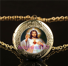 Sacred Heart Of Jesus Cabochon Glass Gold Plating Locket Pendant Necklace