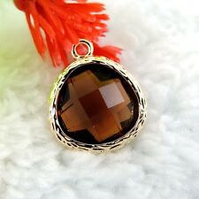 2pcs Fashion Glod Coffee Plaid Crystal Glass  Charms Pendant 14*13*6mm39145