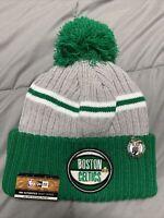 NBA New Era Boston Celtics Cuffed Draft Winter Pom Beanie Hat Cap NWT & Pin
