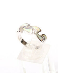 Sterling Silver and White Opal Wave Design Ring Size N