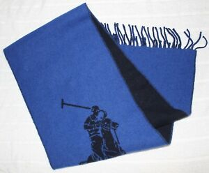 """Polo Ralph Lauren Mens Blue Polo Pony Wool Italy Scarf NWT $58 Size 10"""" x 70"""""""