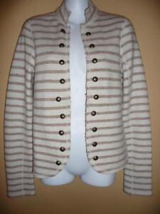 Free People Wool Striped Light Beige Jacket Army style XS $138 NWT